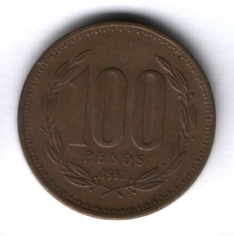 100 песо 1992 г. Чили