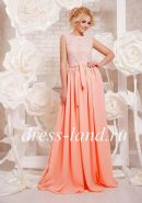 Персиковое платье в пол, с кружевным лифом