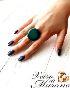 Кольцо  Матовый шик муранское стекло