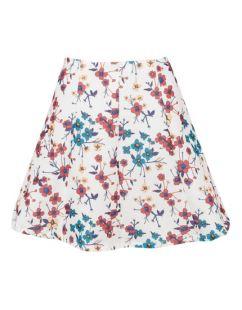 Разкроена пола с флорален десен