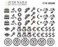 Трафарет Deep design для дизайна ногтей #248