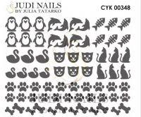 Трафарет Deep design для дизайна ногтей #348