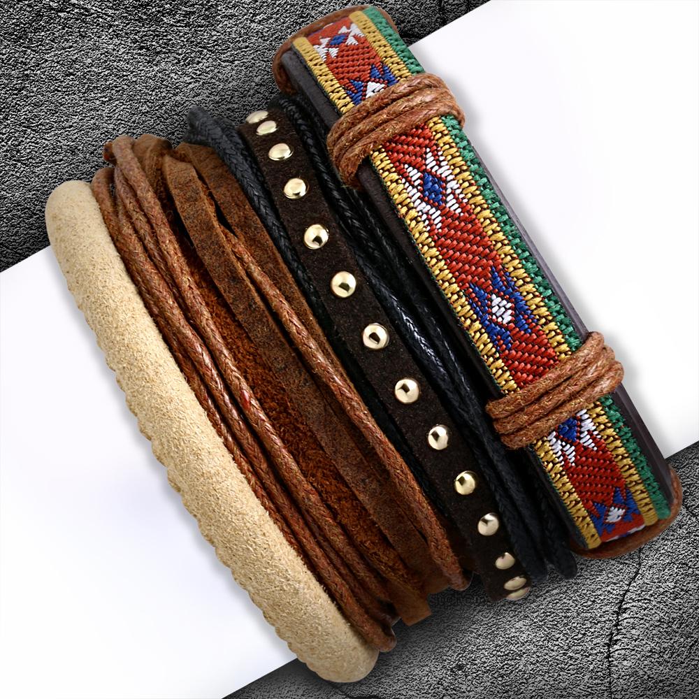 Кожаный браслет (4 шт)