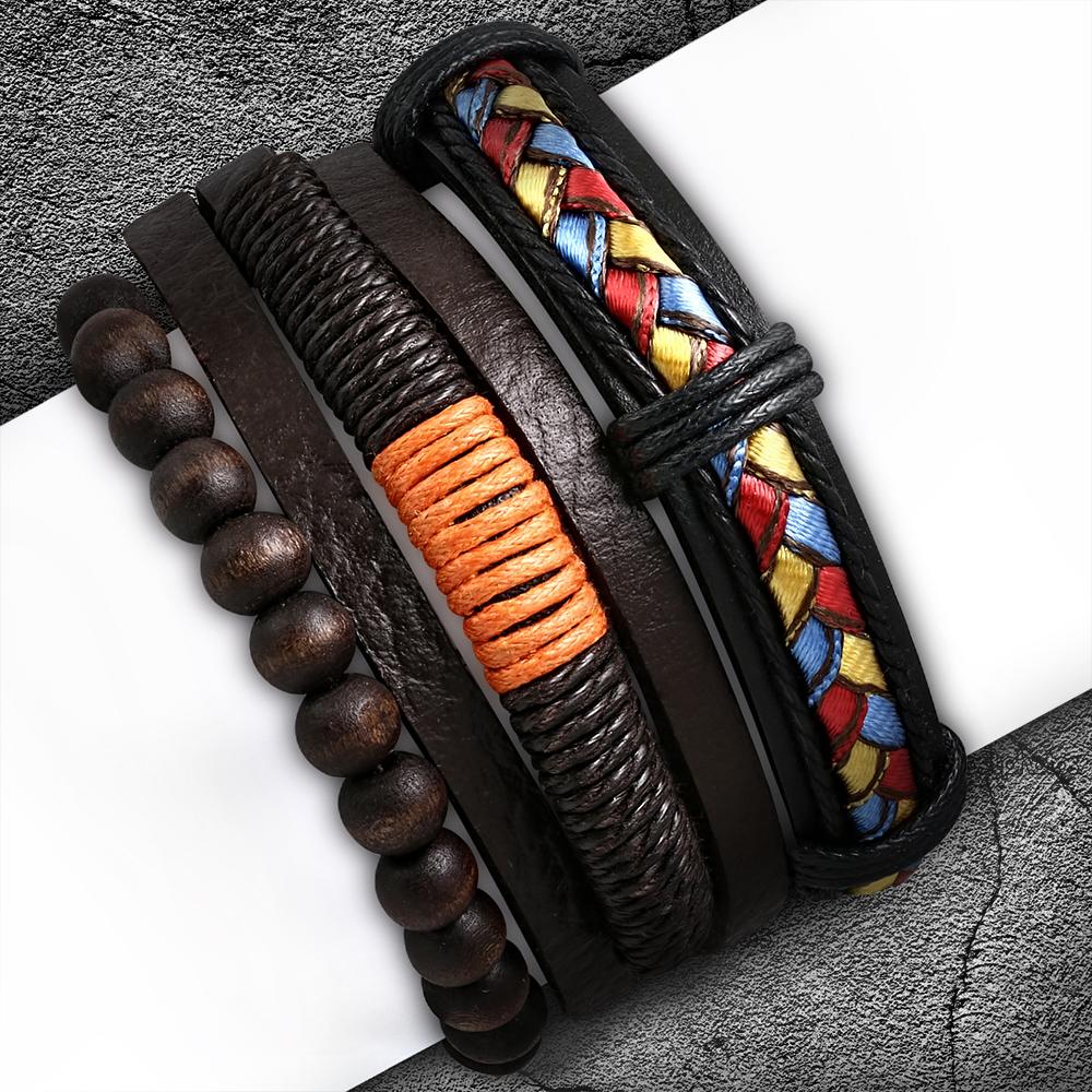 Тройной кожаный браслет