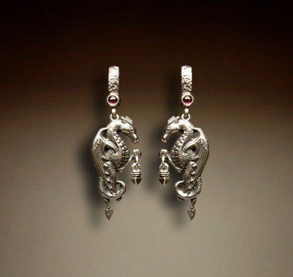 Серьги Дракон с подвесом серебряные