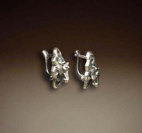 Серьги Лошади серебряные