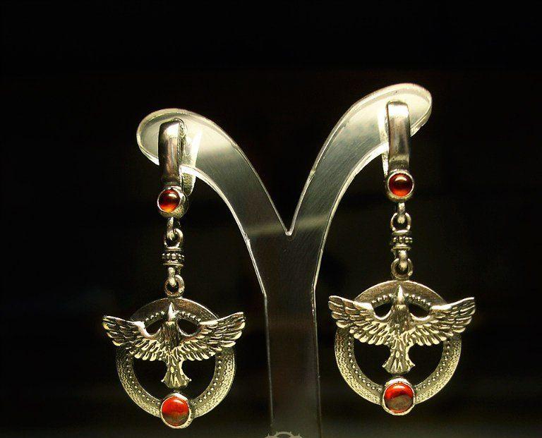 Серьги Птицы серебряные  красные