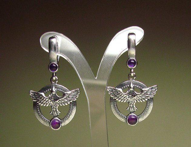 Серьги Птицы серебряные  фиолетовые