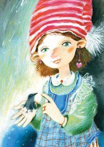 Открытка «Девочка с воронёнком»