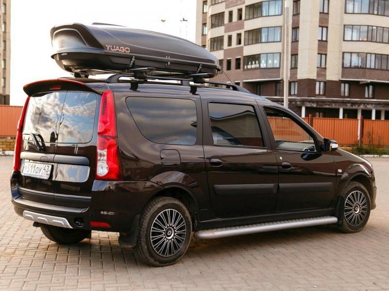 Багажник-бокс на Лада Ларгус, 460 литров, черный/серый/белый