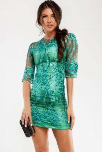 Къса рокля от мрежа с орнаменти