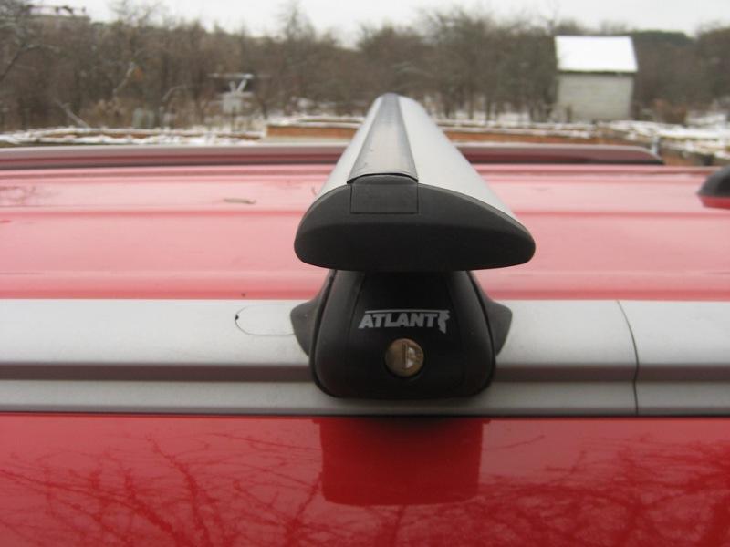 Багажник на крышу Kia Soul 2014-... с интегрированными рейлингами, Атлант, крыловидные дуги